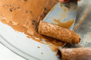 Coffee espresso ice cream roll in making