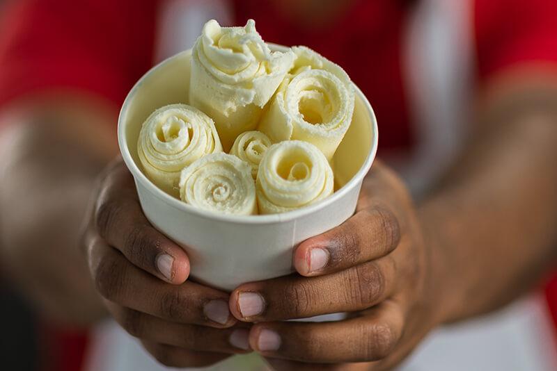 Vanilla ice cream roll