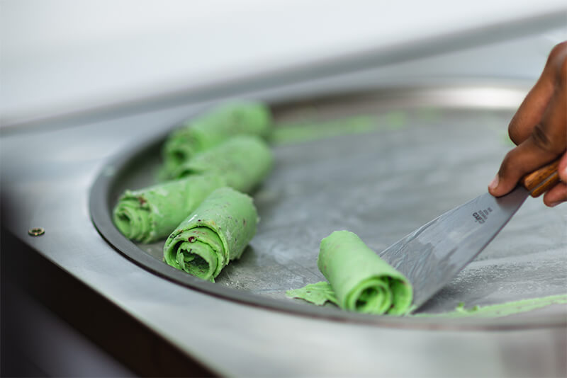 Paan ice cream roll in making